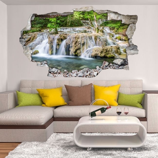 Vinyl decorative waterfalls in the forest 3D