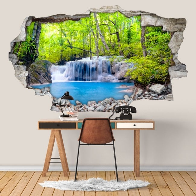 Vinyl 3D waterfalls in the rainforest
