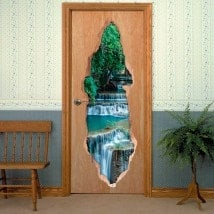 Vinyl doors 3D waterfalls nature
