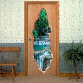 Vinyl doors 3D waterfalls nature