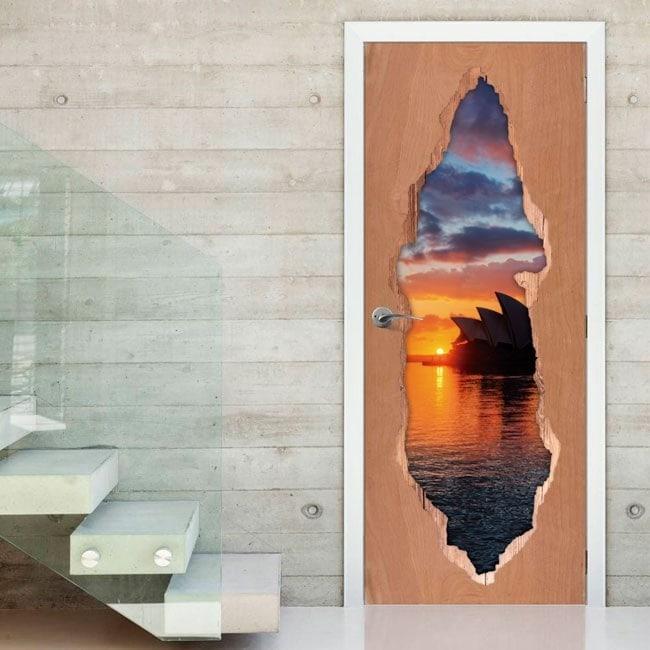Sunset in Australia 3D doors vinyl