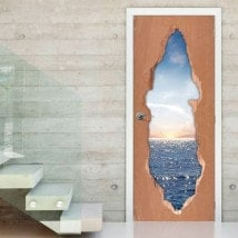 Sunset over sea 3D doors vinyl
