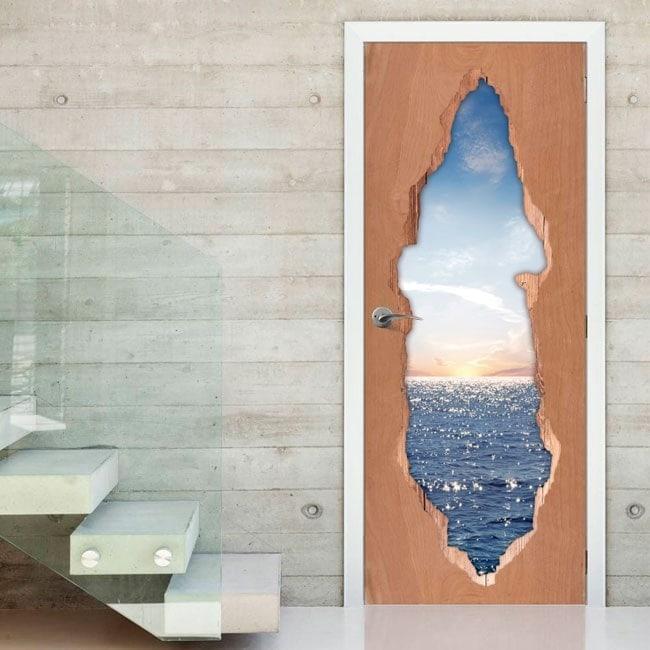 Sunset over sea 3D doors vinyl