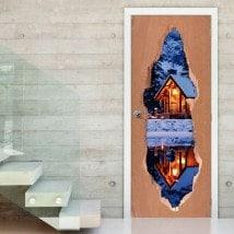 Doors vinyl cabin in winter 3D