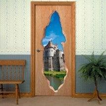 Vinyls for doors Castle counts of Ghent 3D