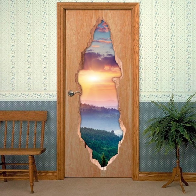 Doors sunset in mountains 3D for vinyls