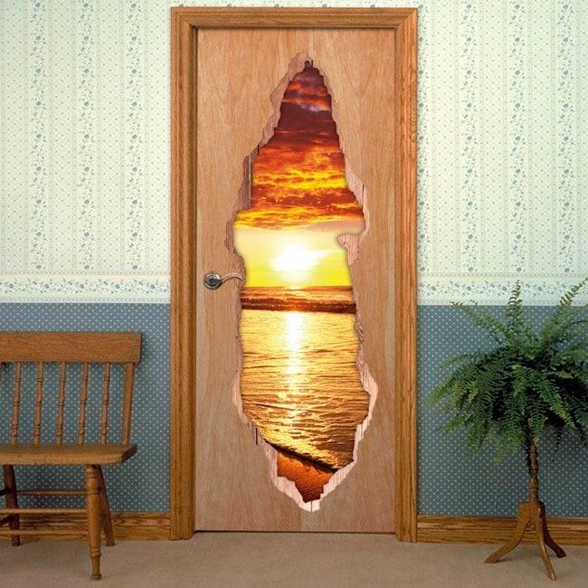 Vinyls for doors Sunset Beach 3D