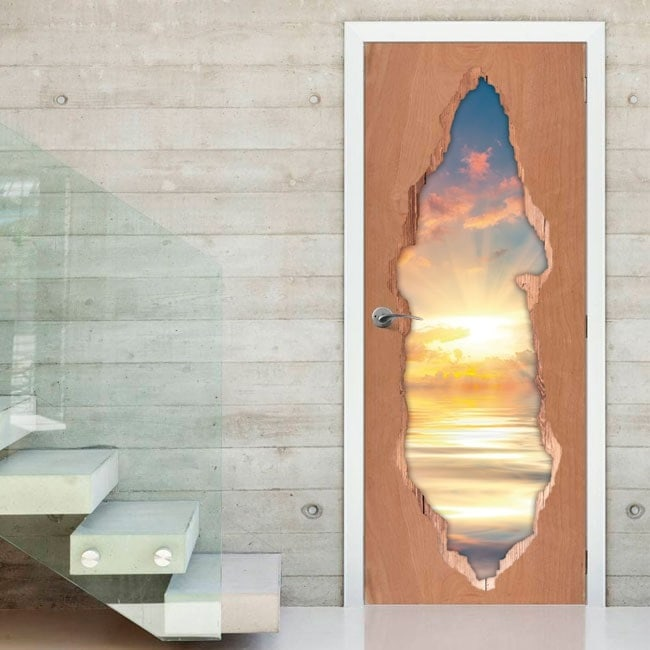 3D doors vinyl sunset on the sea