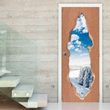 3D snowy mountains door vinyl