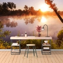 Photo wall murals sunset at the river