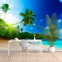 Photo wall murals of vinyl Palms Sunset Beach