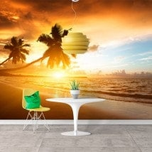 Photo wall murals sunset Palm trees on the beach