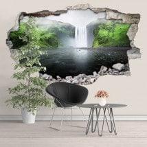 Vinyl in 3D mountain waterfall