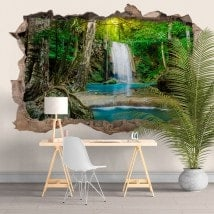 Stickers and vynils waterfalls in the forest 3D