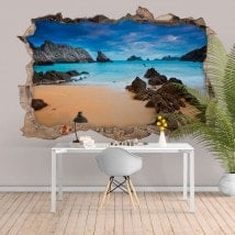 Decorative vinyl 3D sea and beach