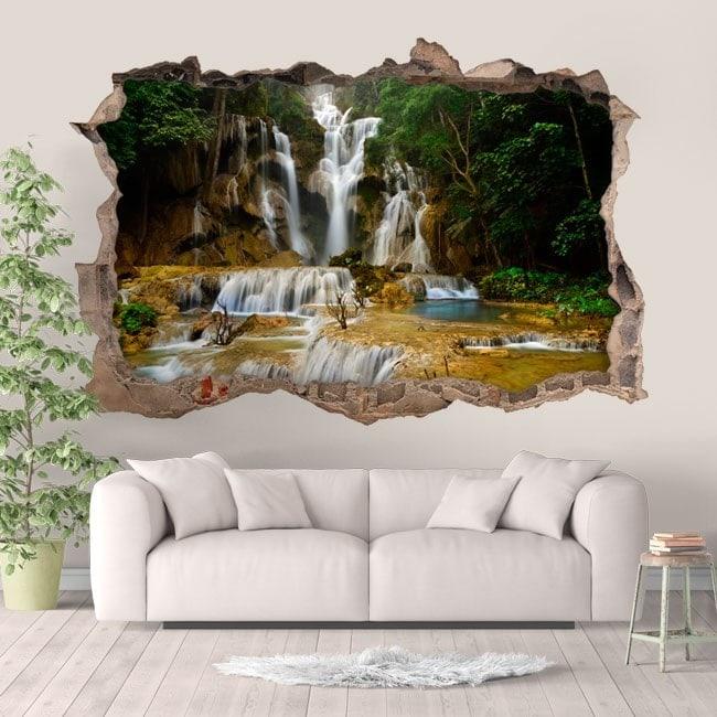 Vinyl waterfalls in 3D nature