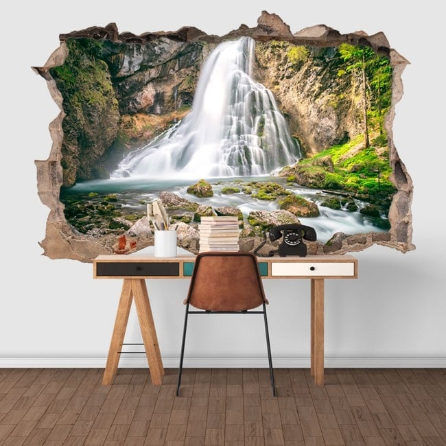Decorative vinyl 3D waterfalls mountain