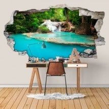 Decorative vinyl 3D waterfalls in the forest