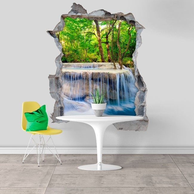 Decorative vinyl 3D waterfalls in nature
