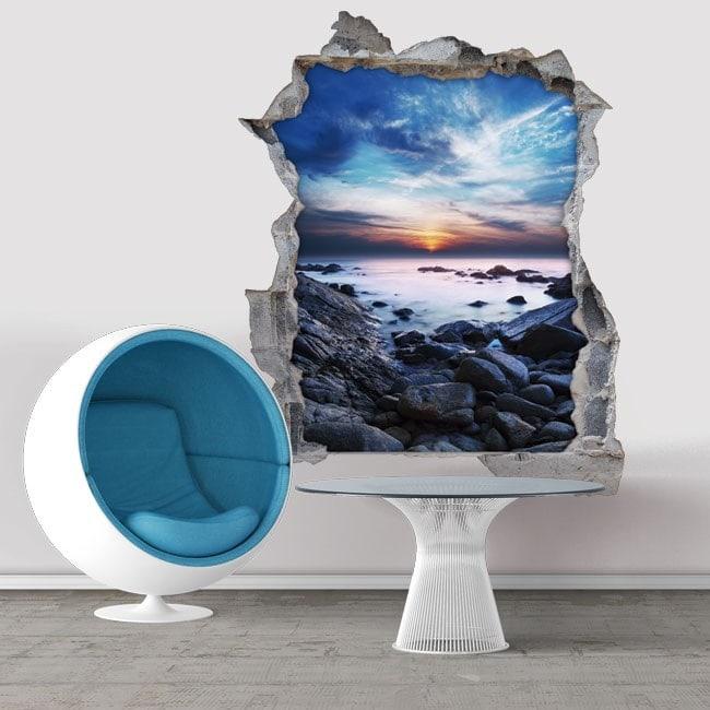 Decorative vinyl 3D sunset in the lagoon