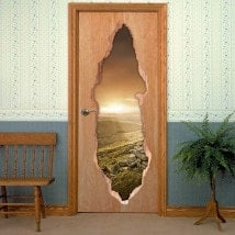 Sunset in mountains 3D doors vinyl