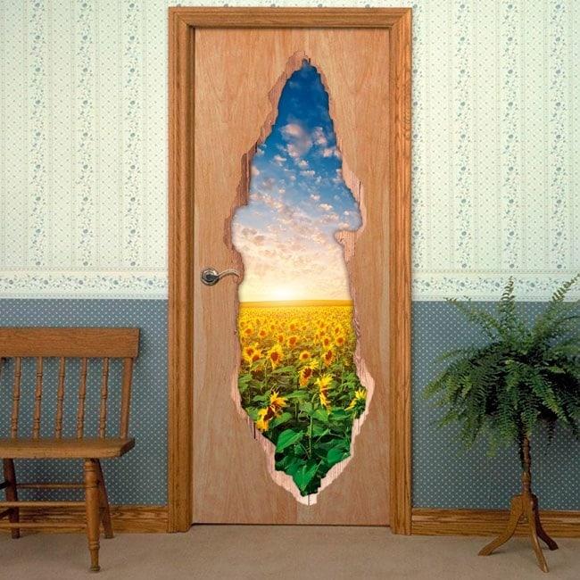 Vinyl doors sunflowers sunset 3D