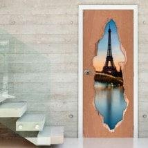 Vinyl for doors Paris Tower Eiffel 3D
