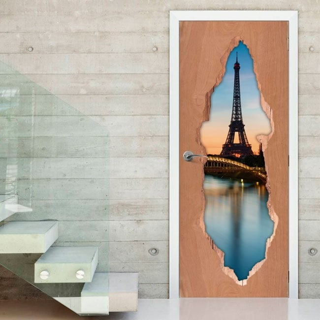 Vinyl for doors Paris Tower Eiffel 3D