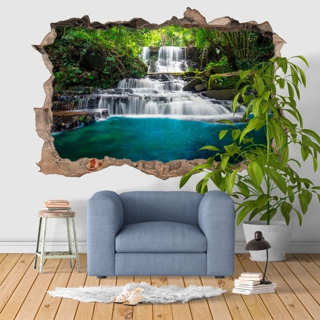 Decorative vinyl 3D waterfalls nature