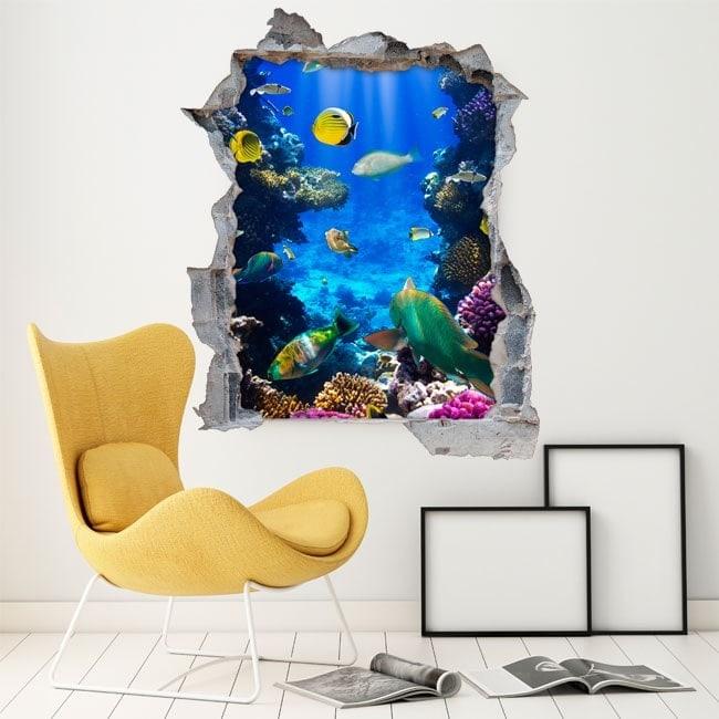Vinyl decorative fish on the reef 3D
