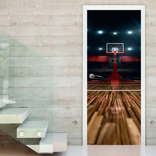 Decorative vinyl doors court basketball