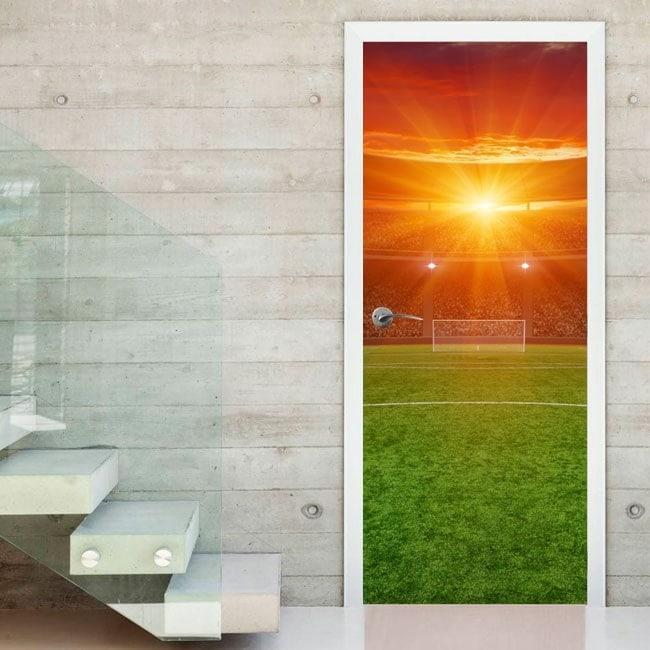 Decorative vinyl door soccer field