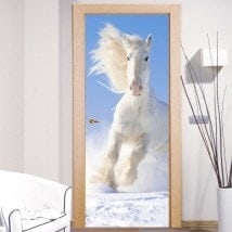 Decorative vinyl doors white horse snow