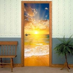 Adhesive vinyl door beach at sunset