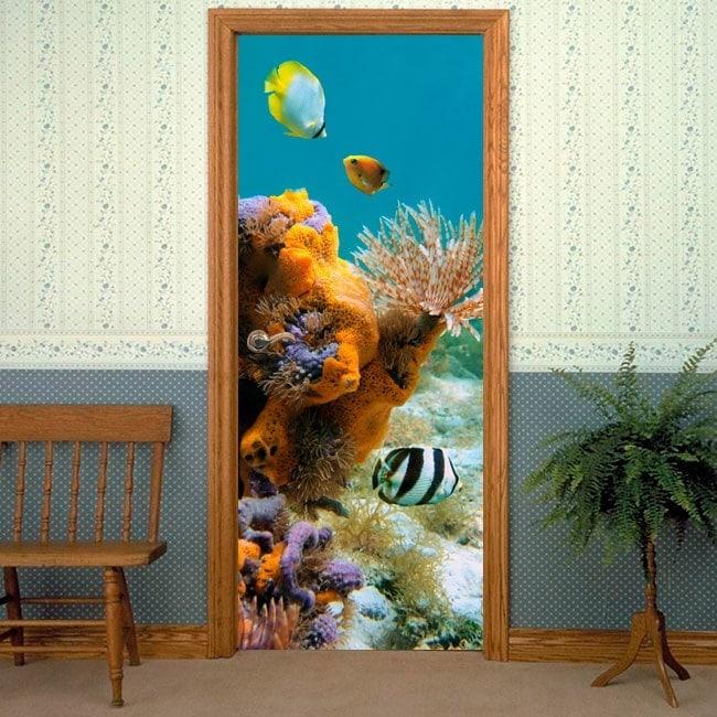 Decorative vinyl doors marine world