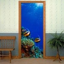 Vinyls for doors fish in the sea