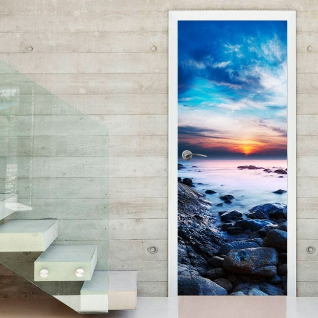 Decorative vinyl doors sunset in the lagoon