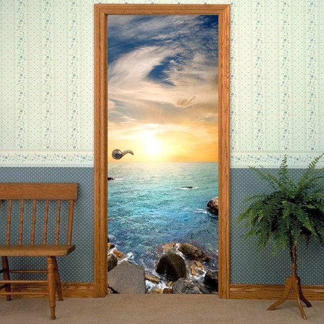 Decorative vinyl door sunset on the sea