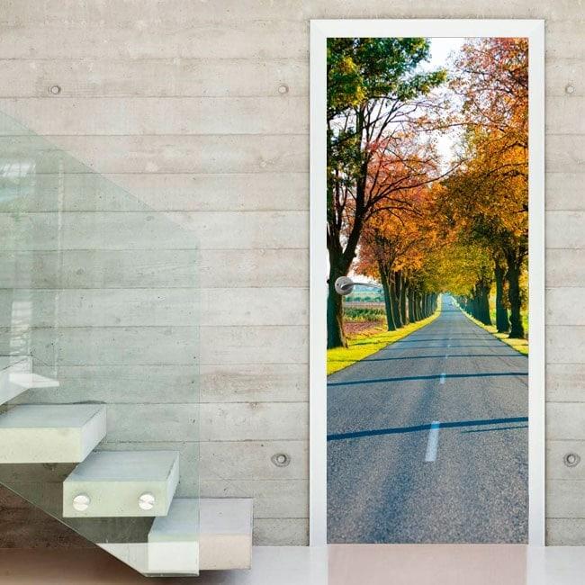 Vinyl doors road and trees autumn