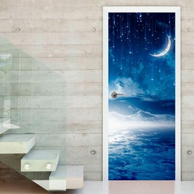 Vinyl doors night Moon and stars