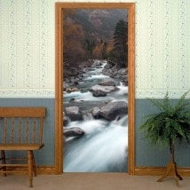 Decorative vinyl doors Brook mountains