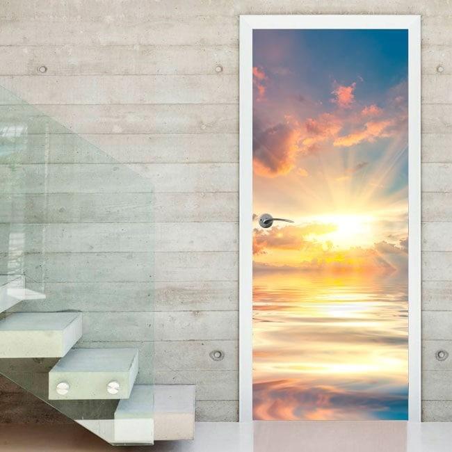 Vinyl door sunset on the sea