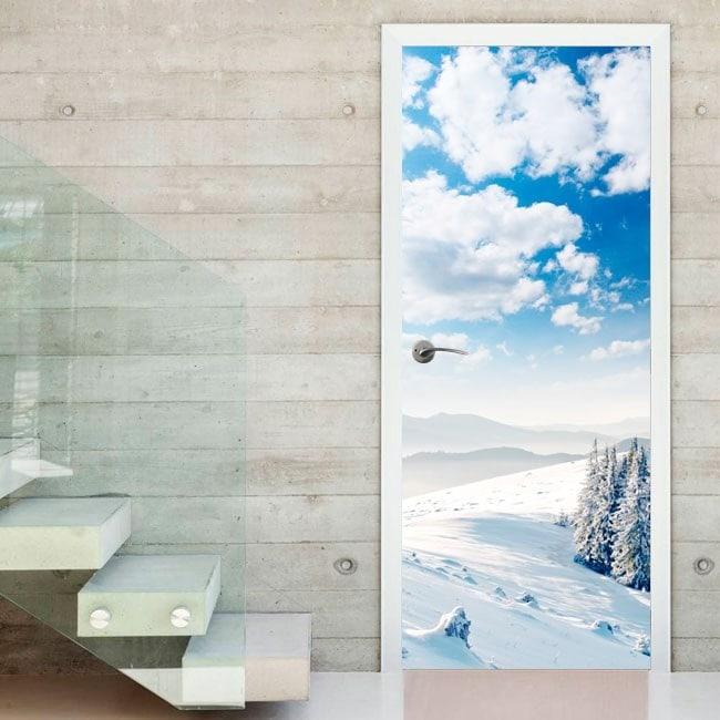 Vinyl doors snowy mountains