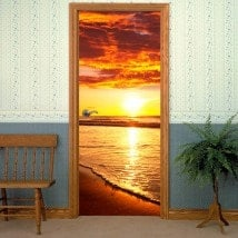 Decorative vinyl doors sunset on the beach