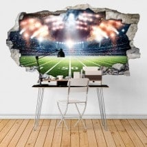 Vinyl football stadium broken 3D wall English 6448