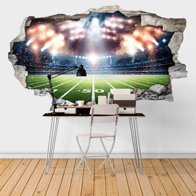 Vinyl football stadium broken 3D wall English 6448