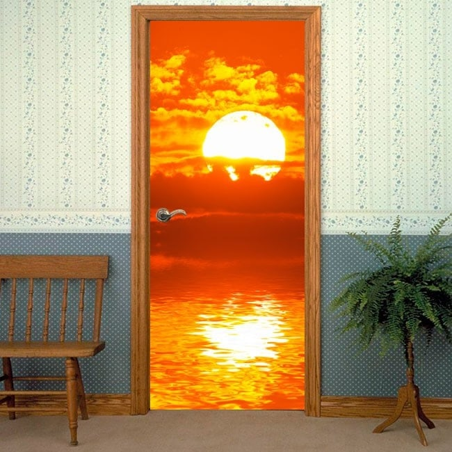 Decorative Vinyl Doors Sunset At The Sea