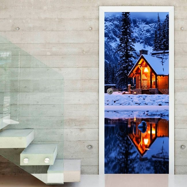 Decorative Vinyl Doors Winter Cabin
