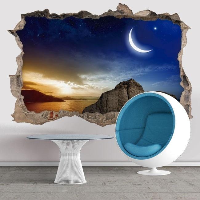 3D Vinyl Magic Sunset Hole Wall