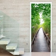 Decorative Vinyls For Doors Bridge In The Forest